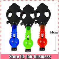"Cheap 2015 Unique Design 17"" Gas Mask with Water Pipe Sealed Acrylic Hookah Pipe Silicone Mask Beaker Bongs Smoking Filter Tobacco Pipes"