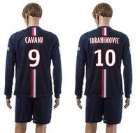 Wholesale 14 soccer club home deep blue long sleeve uniforms CAVANI brand name football sets IBRAHIMOVIC men s thai quality sports jerseys