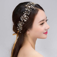 Cheap Gold Silver Hair Band With Ribbon Crystal Pearls Hair Piece Bridal Tiaras Bridal Hair Accessories Wedding Head piece Hair Jewelry