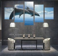 Cheap 5 Panels Dolphin Wall Art Picture Home Decoration Living Room Canvas Print Painting Wall Picture Print On Canvas Unframed