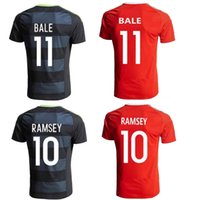 Men allen jerseys - Thai quality Wales Soccer jersey BALE home red RAMSEY away black ALLEN TAYLOR WARD Wales football shirt jersey