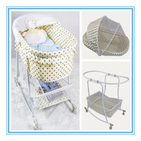 Wholesale Naturally Automatic Swing Baby Shaker Rocking Crib Good Baby Lounge Baby Swing Cradle Bed Beige Color With Dot Retail