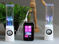 Wholesale Flash and Light Up Fountain MP3 Player Amplifer Dancing Water Speakers V USD Plugs Mobile PC Speakers