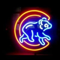 Wholesale NEON SIGN MLB HANDICRAFT CUBS WALKING REAL GLASS TUBE BEER BAR LIGHT GAME ROOM SHOP x15 quot