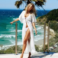 beach vacations europe - 2016 Europe Womens Lace Bikini Coverups Dress White And Black Classic Sexy Beach Dress Smooth Boho Vacation Beachwear Dress