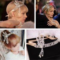 Wholesale Women Fashion Beauty Silver Flapper s Great Gatsby Style Pearl Crown Head Hair Dress Band Bridal Headband