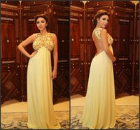 ab straps - 2016 Luxury Evening Dresses Myriam Fares Backless Halter with AB Stones A Line Chiffon Pageant Prom Gowns Full Length Celebrity Dress BA0442