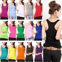 Wholesale Women s Ladies Summer Sexy Racerback Tight Tank Top Vest Top Fitted Sleeveless Scoopneck Cotton Blended Shirt ax2