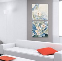Cheap 2PCS Home interior canvas art Chinese style lotus painting room wall decor printed flower oil painting abstract picture LS469-1