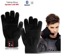 Wholesale 12X Hi call Bluetooth Gloves Talking Gloves Touch Screen Gloves For Cell Phones Moblie Phones Hands Free Touch Function