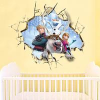 Wholesale Cartoon Frozen Queen Olaf Anna Kids Baby Art Wall Stickers Decals Decor cm DH04