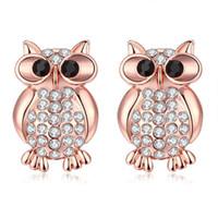 Wholesale Fashion Womens Cute Beautiful Rose Gold Plated Geometric Rhinestone Crystal Animal Owl Shape Hollow stud earrings