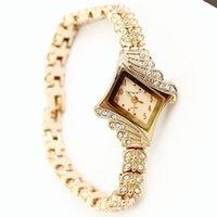 Wholesale Korea fashion girl watches brand women rhinestone Rose Gold ladies bracelet Wrist watch square golden face quartz female clock