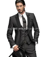 Wholesale 2015 Morning style Hot Selling Charcoal Groom Tuxedos Pieces Groomsmen Men Wedding Suits Prom Clothing jacket pants waistcoat tie
