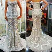 red tube sexy - Hot New Luxurious Mermaid Strapless Wedding Dresses Crystal Lace Up Sexy Wedding Gown Beads Tube Top Tulle Bridal Gown Fish Tail