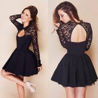 Cheap Little Black Dress Sexy Lace Cocktail Dress Lace Long Sleeves Cutout Crew Neck and Back Evening Dress Mini Short Skirt Cheap Hot Sale 2015