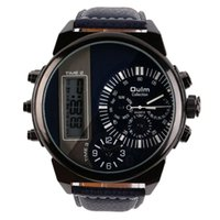 analogue clock display - New Fashion Men Two Analogue Business Casual Wrist watch Clocks with Digital Display Wrist Watchhot