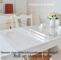 Wholesale 2015 Newest clear soft glass table covers Thickness MM tablecloth PVC Plastic table cloth for christmas wedding home items roll shipping