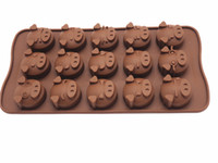 Wholesale pig shape Chocolate silicone mold in home kitchen