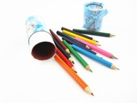 Wholesale Frozen Elsa Pencils Colors Kids Colored Pencils Children Drawing Pencil Short Size with Box in stock