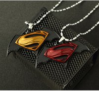 Wholesale Movie Jewelry Hip Hop DC SUPER HERO Stainless Steel Popcorn Chain Superman Pendant Necklace Men Fashion Jewelry