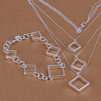 agate pieces jewelry - heavy g silver Quartet grid piece jewelry set DFMSS064 High quality silver necklace charm bracelet x8 inches
