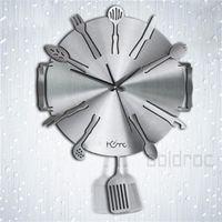 art dinnerware - 2015 New Modern Art Dinnerware Style Aluminum Decorative Wall Clock for Home Kitchen Plate Art Clock