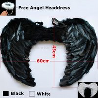 adult kid costume - Large cm Feather White Black Halloween Sexy Dark fallen Angel wings costumes with Headdress for adult women kids nightclub