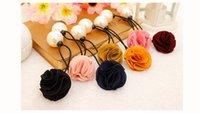 african head tie wholesale - Best price Korea hair ring for women girl fashion flower rose Pearl hair tie head ornaments hair band hair accessory