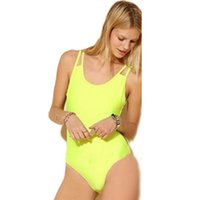 Wholesale New Fashion Lime Strappy Sexy Neon Yellow Rainbow One Piece Swimsuit Women Swimwear Neon Colored Bathing Suits Monokini