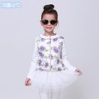 Wholesale Korean Clothes Sizing For Kids - Clothes For Children Polos Spring New Korean Organza Zipper Coat Long Sleeve Cardigan For Girls 100-140 Size 2-7 Age Kids G46