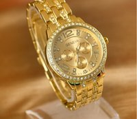 Wholesale Hot Geneva Stainless Steel Watch Fashion Metal Quartz Wristwatches for Women Men Unisex Luxury Watches Geneva Crystal Watches Gold watches