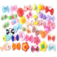 Wholesale 20 Pet Hair Bows Hair Band Dog Puppy Cat Grooming Accessories Random Color and Style
