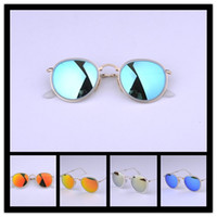 Wholesale Vintage folding sunglasses for women men metal frame mirror lens round eyewear reflected light driving traveling sun glasses with Retail Box