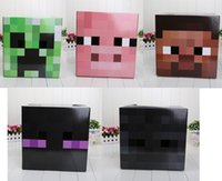 used toys - Minecraft CREEPER MASK Steve Zombie Box Heads toys suit for using Minecraft Sword Pickaxe Foam for Party masks