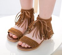 Wholesale 2015 summer new style children sandals fashion tassels kids Low to help cool boots high quality big girls shoes two color ab2398 XQZ