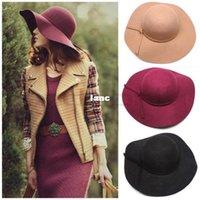 Wholesale Fashion Hot Soft Women Vintage Retro Wide Brim Wool Felt Bowler Fedora Hat Floppy Cloche Big Brim Chapeu Hat