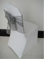 Wholesale Spandex chair cover wedding chair cover organza chair sashes Silver Color