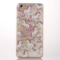 apple flakes - 2016 New Arrivals for iPhone Unicorn Horse Flake TPU PC Cover Case for iphone Quicksand Case PC Hard Case