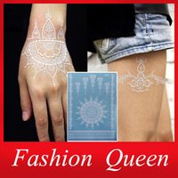 Wholesale 2015 New White Lace Temporary Tattoo Sticker Waterproof Henna Tatoo Bracelet Sleeve Flash Fake Tatouage Women Body Art Jewelry