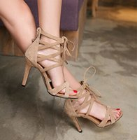 Wholesale Sexy Open Toed Orange Heels - 2015 summer in Europe and the new real leather shoes with thin and sexy fish mouth Roman cross bind women sandals wedding shoes