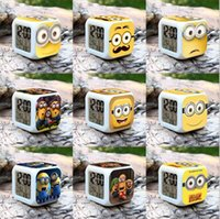Wholesale Despecable of Me Minions Alarm Table Clocks Frozen LED colors change digital alarm clock colorful glowing toys style