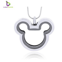 Wholesale 2015 New Silver Mickey magnetic glass floating charm locket Zinc Alloy mm chains included for free LSFL012