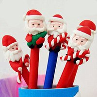 Wholesale Santa claus ballpoint pen snowman polymer clay carton ballpoint pen for christmas present for kids students prizes hot sale