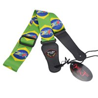 Wholesale New World Cup Brazil Pattern Strap Adjustable Acoustic Guitar Strap Bass with Pick Holder MU0399