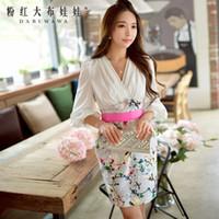 bell mini skirt - Dabuwawa Lady s Elegant V neck Flare Sleeve White Shirt Upper Panelled Floral Printed Skirt Bodycon Dress
