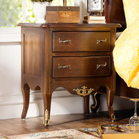bedroom furniture nightstands - Odd ranks yield of French neo classical European white elm wood furniture brown double bedroom nightstand drawer book