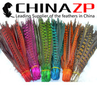 Wholesale Gold Manufacturer CHINAZP Crafts Factory cm inch Length Dyed Multi Colorful Ringneck Pheasant Feathers