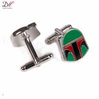 Wholesale Unique Star Wars Boba Fett Helmet Cufflink For Personality Men Green Enamel Silver Alloy Cufflinks High Quality Jewelry