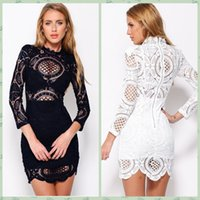 Wholesale Sexy Crochet Dresses For Women - 2016 Women For Love and Lemons Bodycon Dress Sexy Club Party Dress White Crochet Lace High Neck Long Sleeve Pencil Mini Dress Casual 22179